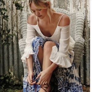 Free People Woodstock Gauze Cold Shoulder Top
